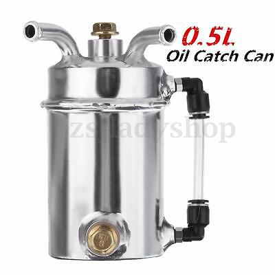 0.5L Modified Engine Oil Catch Tank Breather Reservoir Can Aluminum Alloy Silver