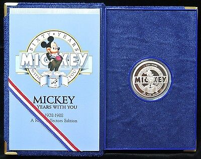 1928-1988 Mickey Mouse Sixty Years With You -.999 Silver 1 Oz. Proof Coin + Case