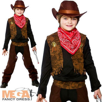 Cowboy + Hat Boys Fancy Dress Western Cowboys & Indians Childs Costume Outfit
