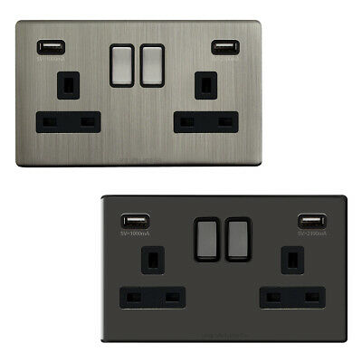 Double Wall Plug Socket 2 Gang 13A with 2 USB Charger Port Outlets Slim Plate
