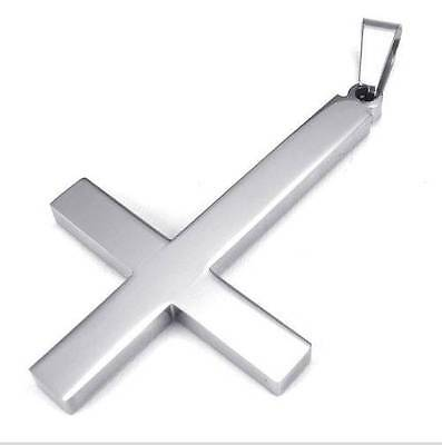 Men's Silver 316L Stainless Steel Cross Pendant Necklace 500mm Chain Gift New