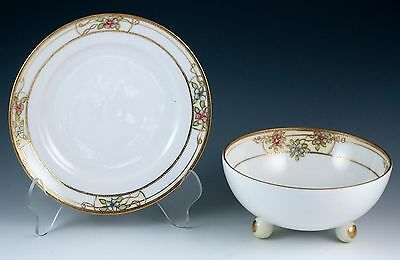 Vintage Porcelain Nippon Footed Rice Bowl & Saucer Underplate Made In Japan