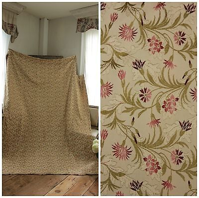 Vintage French Silk brocade curtain floral drape 1950's heavy weight fabric