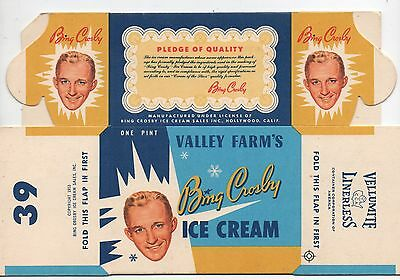 1953 Unfolded Box of Bing Crosby Ice Cream Hollywood CA