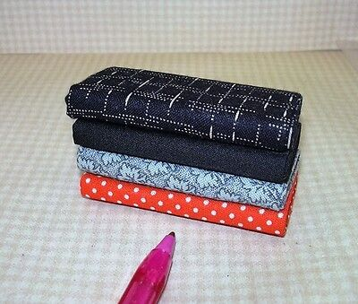 Miniature Serendipity Set of 4 Coordinated Bolts of Fabric (#3): DOLLHOUSE 1/12