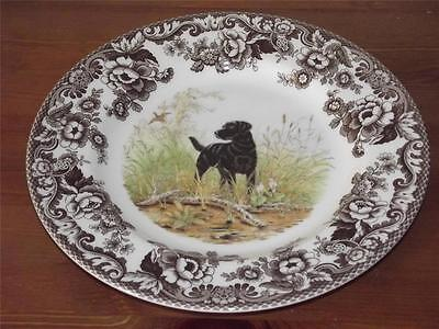"Spode Woodland 10.75"" DINNER PLATE Hunting Dogs BLACK LABRADOR  Made England NEW"