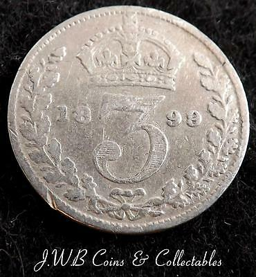 1899 Queen Victoria Silver 3d Threepence Coin - Great Britain