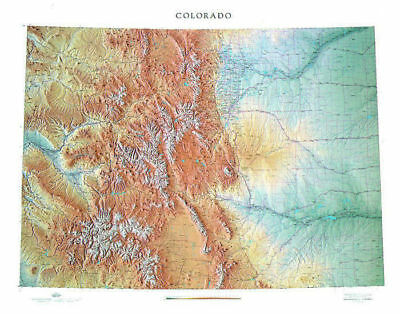 """Colorado Topographical Wall Map by Raven Maps, 43"""" x 54"""""""
