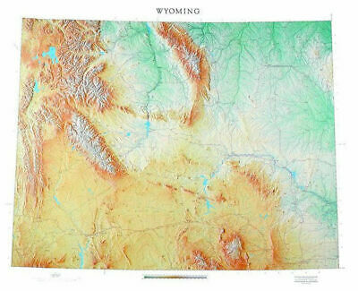 """Wyoming Topographic Wall Map by Raven Maps, 43"""" x 52"""""""