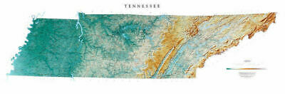"""Tennessee Topographic Wall Map by Raven Maps, 21"""" x 65"""""""
