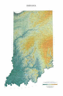 """Indiana Topographic Wall Map by Raven Maps, 29"""" x 44"""""""