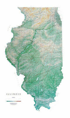 """Illinois Topographic Wall Map by Raven Maps, 33"""" x 55"""""""