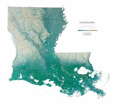 """Louisiana Topographic Wall Map by Raven Maps, 41"""" x 45"""""""