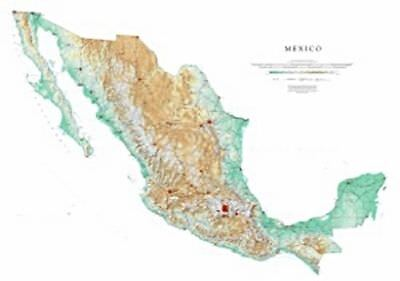 """Mexico Topographic Wall Map by Raven Maps, 37"""" x 54"""""""