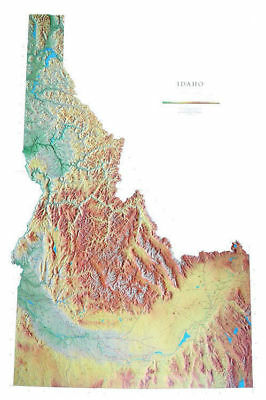 """Idaho Topographic Wall Map by Raven Maps, 42"""" x 65"""""""