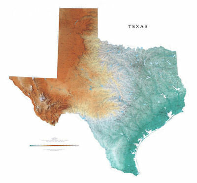 """Texas Topographic Wall Map by Raven Maps, 46"""" x 50"""""""
