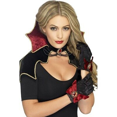 Dracula Costume Set Vampire Fancy Dress Gothic Shawl Collar Gloves Witches Lady