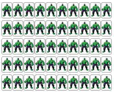 "50 Incredible Hulk Envelope Seals / Labels / Stickers, 1"" by 1.5"""