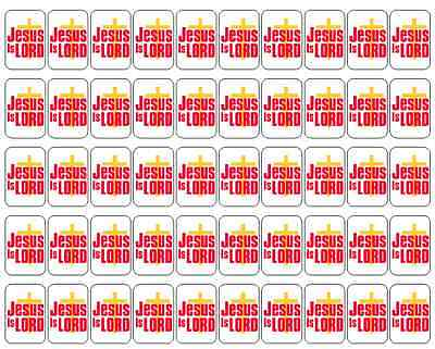 "50 Jesus Is Lord Envelope Seals / Labels / Stickers, 1"" by 1.5"""