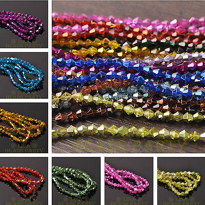 Lot Wholesale Bicone Faceted Crystal Glass Loose Spacer Beads 3mm 4mm 6mm