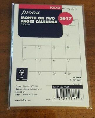 2017 FILOFAX Pocket Month on Two Pages Diary/Calendar - 17-68210