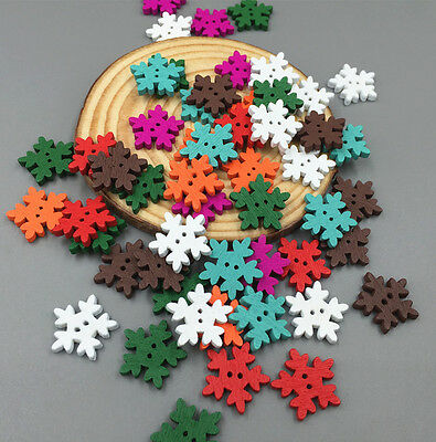 Crafts Mixed Color Christmas Snowflake Wooden Buttons Sewing Scrapbooking 18mm