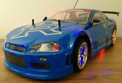 NISSAN GTR SKYLINE RECHARGEABLE Radio Remote Control Car  20MPH - BLUE