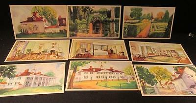 Mount Vernon 1934 Group of 9 Watercolor Style Postcards Different Views