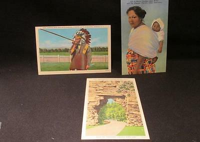 Cherokee with Blow Gun, Mother with Papoose & Forest 3 Vintage Postcards