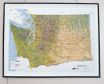 Washington State Raised Relief Map - Natural Color Relief Style
