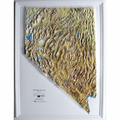 Nevada State Raised Relief Map - Natural Color Relief Style
