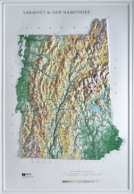 Vermont & New Hampshire State Combined Raised Relief Map Raven Style