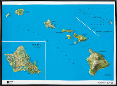 Hawaii State Raised Relief Map - Natural Color Relief Style