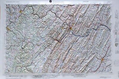 Cumberland USGS Regional Raised Relief Map in MD, PA, WV