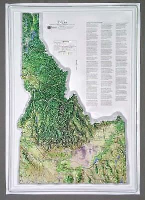 Idaho State Raised Relief Map - Natural Color Relief Style
