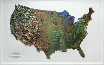US (Mainland Only) Satellite Version Raised Relief Map NCR Style