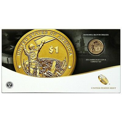 2015 W Native American $1 Coin & Currency Set in OGP Mint Code 15RA
