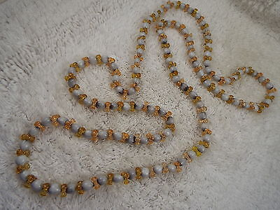Long Gold White Seed Bead Necklace (C73)