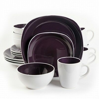 Gibson Home Chicstone 16pc Dinnerware Set in Purple and White