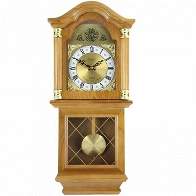 "Bedford Clock Collection Classic 26"" Golden Oak Chiming Wall Clock With Swinging"