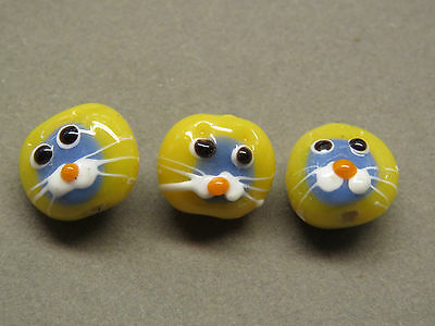 3 Handmade Lampwork Cat Face Yellow Grey 15mm  Glass Beads(X7i69)