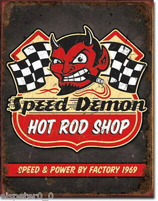 Tin Sign 31 x 40, Speed Demon Hot Rods, USA Advertising Sign Art. #1744