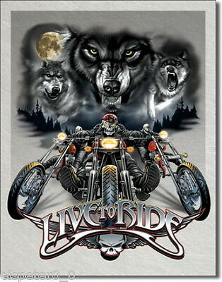 Tin Sign 31 x 40, Live to Ride - Wolves, USA Advertising Sign Art. #1442