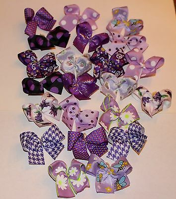 Medium Purple Dog Bows Hand Made USA Dog Grooming Bows Quality Ribbon Poodle