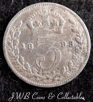 1893 Queen Victoria Jubilee Head Silver 3d Threepence Coin - Great Britain