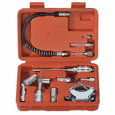 11 Pc Grease Gun Lubrication Aid Kit Zerk Fittings Lube Attach - Tooluxe 61077L