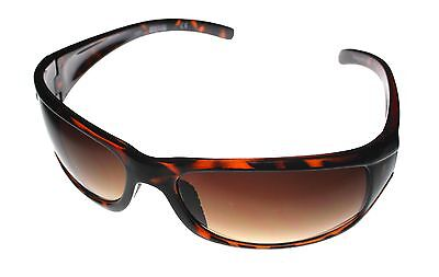 Kenneth Cole Reaction Mens Sunglass Tortoise Rectangle Wrap Brown Lens KC1079 95