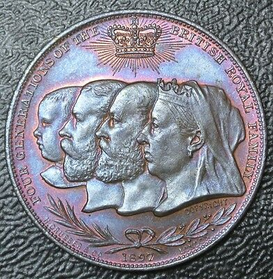 1837-1897 FOUR GENERATIONS OF THE ROYAL FAMILY Commemorative Medallion - COPPER