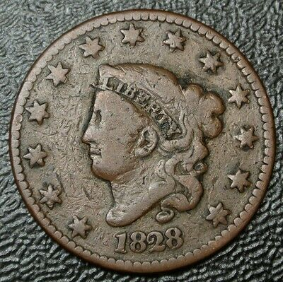 1828 Large Narrow Date - ONE CENT - USA LARGE CENT - Coronet Head - Nice