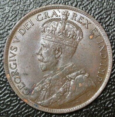 OLD CANADIAN COIN 1920 - ONE CENT - LARGE CENT - George V - Nice